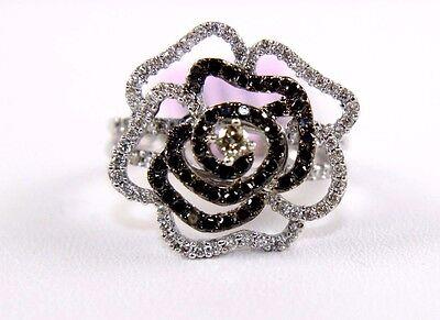 Fine Black & White Diamond Flower Cluster Fashion Ring 14k White Gold .92Ct