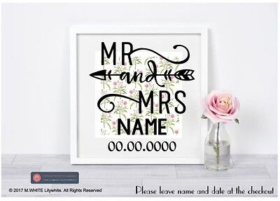Mr & Mrs Aufkleber für Ikea Ribba Box Rahmen Hochzeit Vinyl Personalisieren