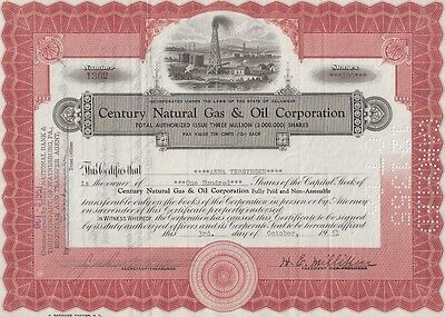 Century Natural Gas   Oil Corporation      1951 Stock  Certificate