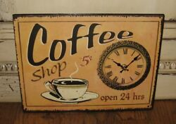COFFEE CUP SHOP Wall CLOCK*Primitive/French Country/Farmhouse Kitchen Decor*New