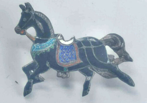 Vintage Horse Sterling Silver & Enamel Brooch Pin Gorgeous Equestrian Thailand