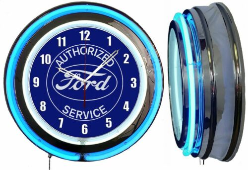 "FORD Authorized Service Sign 19"" Blue Neon Clock Man Cave Garage Shop"