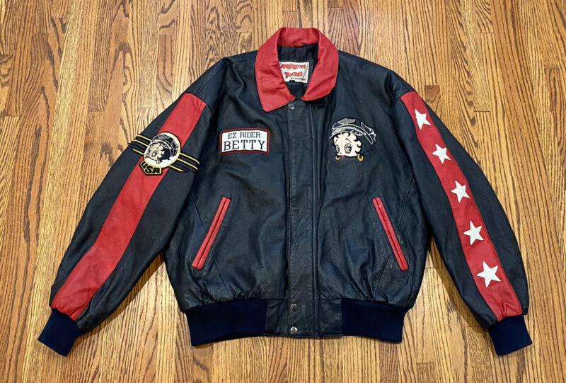 Betty Boop Ez Rider Vintage Excelled American Toons Leather Bomber Biker Jacket