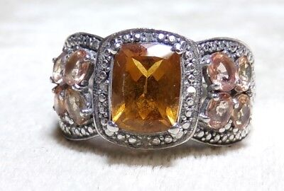 1.6 Ct Citrine Ring (Gorgeous 925 Sterling Silver 2.5ct CITRINE 8 Morganite 1.6ct Ring Sz 9 STS)