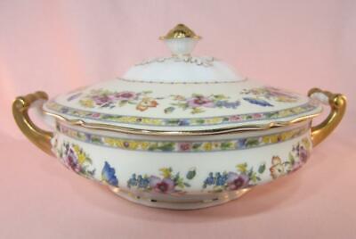 *Epiag Czech Porcelain Covered Bowl / Vegetable Server 1920 -1945 Mark Gold Rim Gold Covered Vegetable Server