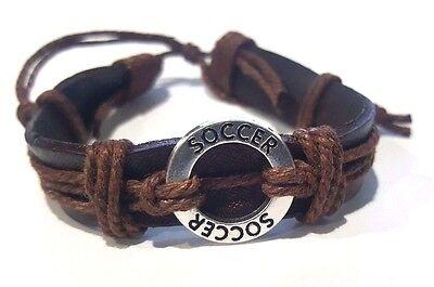 Soccer Brown leather & chord Bracelet  w Soccer charm -unisex adjustable - Soccer Bracelet