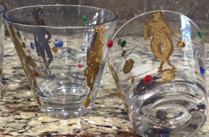 """4 CULVER 22 KT HARLEQUIN JESTER BEADED JEWELED OLD FASHION 3 3/8""""T FLAWS"""
