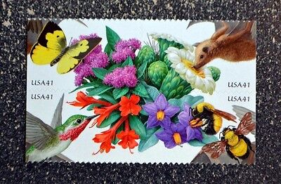 2007USA 4153-4156 41C POLLINATION BLOCK OF 4 BOOKLET MINT TYPE 2BEE BUTTERFLY
