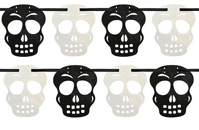2.7m Black and White Glittered Skull Garland Goth Hanging Decor Gothic Wedding