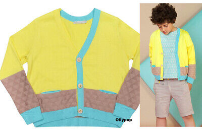 BOY girls Raspberry Plum 9-10 yellow color block cardigan sweater organic cotton