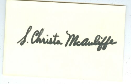 "CHRISTA McAULIFFE ""TEACHER IN SPACE"" SIGNED POSTCARD SPACE SHUTTLE CHALLENGER"