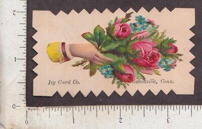 B511 Die-cut scrap calling card Ivy Card Co Clintonville, CT flowers Ethel Lewis ()