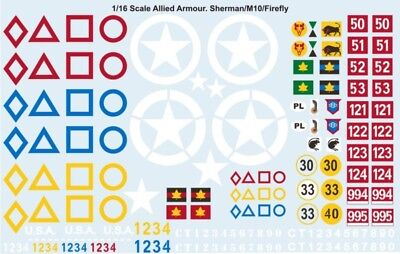 1/16 Sherman (and others)Tank Decal Allied Units Waterslide