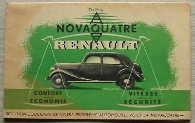 RENAULT NOVAQUATRE Car Sales Brochure Circa 1938 FRENCH TEXT