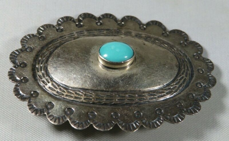 Navajo vintage Sterling silver and Turquoise Elliptical Concho Brooch
