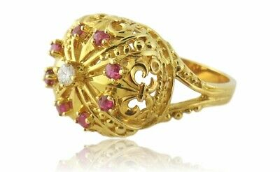 Used, Vintage Igor Carl Faberge 18K Gold Diamond Ruby Crown Ring Box/Certificate  for sale  Forest Hills