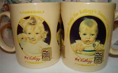 Vintage Set 2 Kellogg Co Cereal Little Boy Girl Coffee Mug Cup 1996 Corn Flakes
