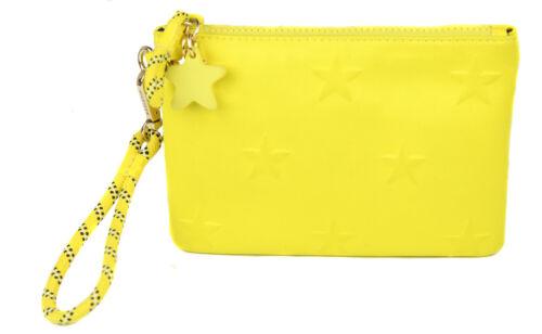 women s yellow star neoprene wristlet wallet