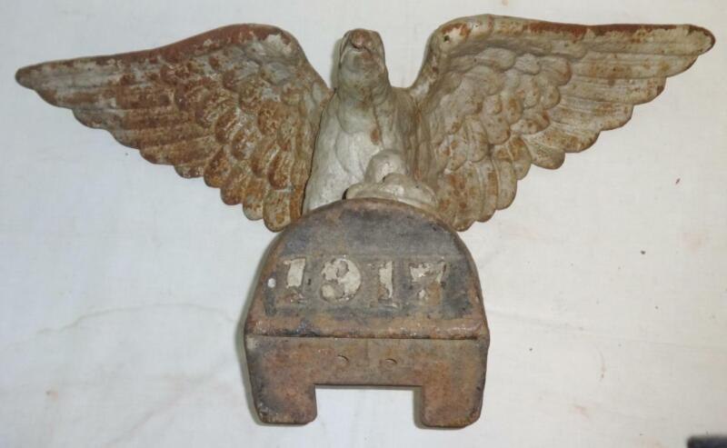 Antique Pair of Cast Iron Architectural Spread Wing Eagles Dated 1917