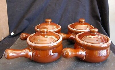 Set of 4 French Onion Soup Crocks/Chili Bowls With Lids & Handles *Brown*