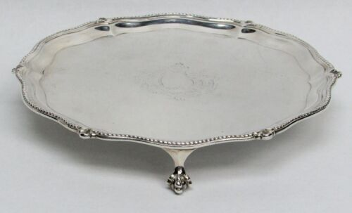 "1870 LONDON STERLING SILVER 9"" BEADED EDGE 3 FOOTED TRAY"