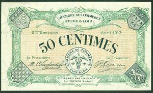 Billet de necessite 50 centimes chambre commerce d 39 eure et for Chambre de commerce et d industrie d eure et loir