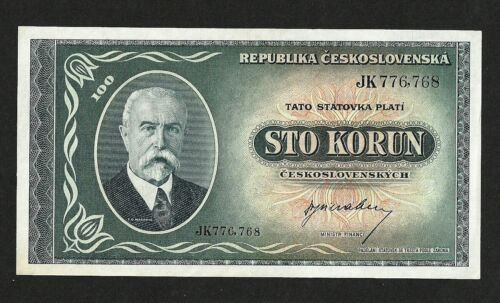 CZECHOSLOVAKIA 100 KORUN 1945 UNC Pick 63a Not Perforated