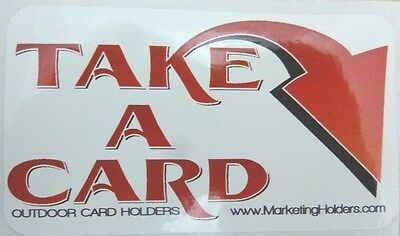 Red Take A Card Vinyl Sticker For Business Card Holder - 3 X 2 Easy To Peel