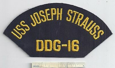 New U.S. Navy USS JOSEPH STRAUSS DDG-16 Hat Patch USN Missle Destroyer Ship US