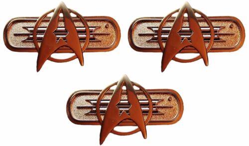 "Star Trek Movie Federation Uniform Chest Insignia Deluxe 3"" Pin Set of 3"
