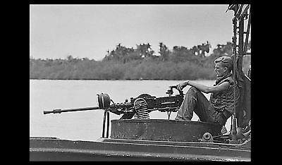 Vietnam War US Navy River Patrol Boat Lookout PHOTO 50 caliber machine gun