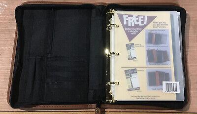 Vintage Mead Cambridge Zippered Day Planner Black Binder Organizer 10 X 8