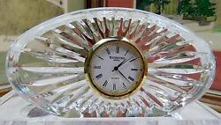 WATERFORD SIGNED CRYSTAL CUT SUNBURST DESIGN 4 3/4 OVAL DESK CLOCK
