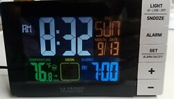 LA CROSSE TECHNOLOGY COLOR ALARM CLOCK WITH TEMPERATURES AND USB  CHARGING PORT
