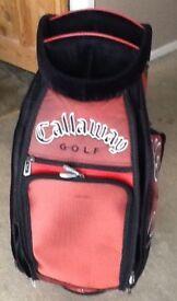 Ping golf clubs, Fisher putter, Callaway tour bag