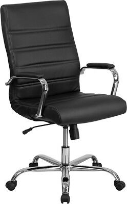 NEW HIGH BACK BLACK LEATHER EXECUTIVE SWIVEL CHAIR WITH CHROME BASE AND ARMS