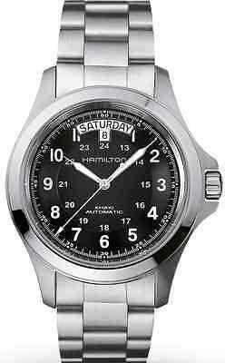 H64455133 Hamilton Mens Khaki King automatic Stainless Steel watch Black new