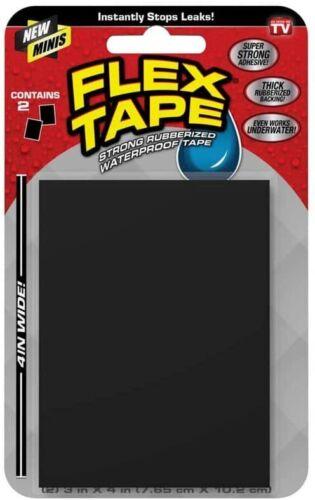 "Flex Tape Mini 3"" x 4"" Super Strong Waterproof Tape, Black,  2 count"