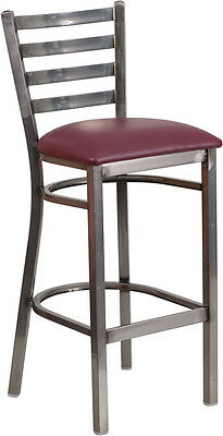 Clear Coated Ladder Back Metal Restaurant Barstool With Burgundy Vinyl Seat