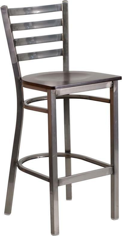 Clear Coated Ladder Back Metal Restaurant Barstool - Walnut Wood Seat