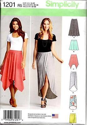 SIMPLICITY 1201 Misses KNIT PULL-ON SKIRTS SEWING PATTERN Sz 14-16-18-20-22 NEW