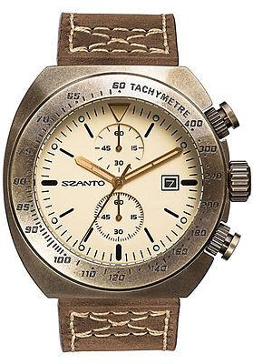 Szanto SZ4102 Mens Chronograph Vintage Racing Design Brown Ivory w Brown Leather ()