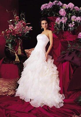 Justin Alexander 8186 Strapless, Ivory, Organza, Timeless Wedding Gown