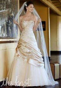 David's Bridal - Satin Ball Gown in Champagne V3179