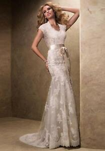 Maggie Sotteo white lace wedding dress