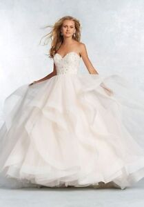 Spring 2017 Modern Wedding Gown with Tiered Ball Gown Skirt