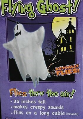3 Ft Scary Flying Ghost flies creepy sounds 25' cable Halloween  prop ez  set-up
