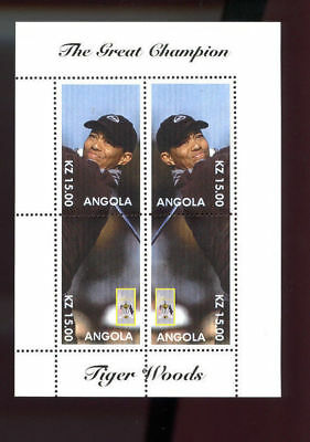 Angola The Great Champion Tiger Woods Golf Uncut Postage Stamp Sheet