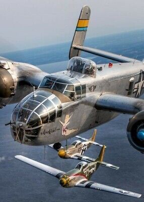B25 Mitchell with P51 Mustang Escorts WW2 5x7 Re-print