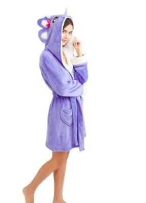 (NEW Body Candy Ladies Huggable Luxe Critter Sleepwear Robe Rhino Ness Size M)